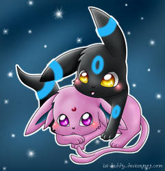 Espeon and Umbreon: cuddle by Isi-Daddy