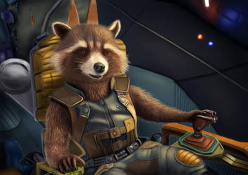 Rocket Raccoon - Digital drawing (3) by BiigM