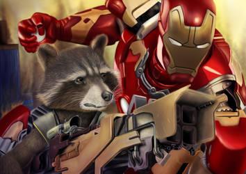 Rocket Raccoon and Iron Man - Digital drawing by BiigM