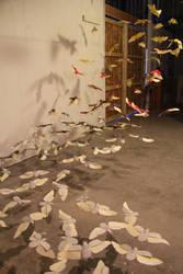 Paper Scarab Installation by insanellamagirl