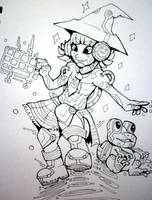 Inktober x 31 Witches Day 19 - Technology Witch by SarahRichford