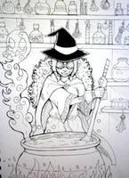 Inktober x 31 Witches Day 21 - Potion Brewer by SarahRichford