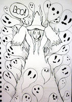 Inktober x 31 Witches Day 30 - Ghost Witch by SarahRichford
