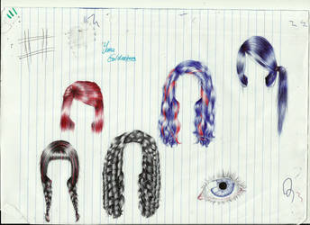 Some hair sketches by ItsMyUsername