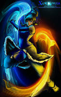 Korra Blue and Red Fire Bender by SolKorra