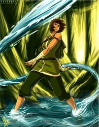 Korra Fighting in The Swamp by SolKorra