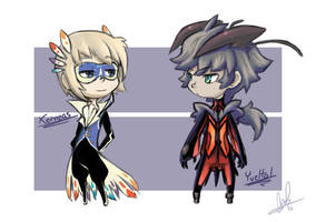 Xerneas and Yveltal Chibi Gijinkas by Lanmana