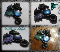 Spikey gothic dragon with bismuth wing by TealpandaArtifacts