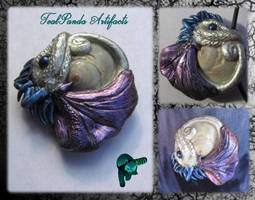 White Bat Dragon with Purple Wings pendant by TealpandaArtifacts