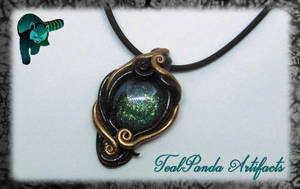 Green Black Gold Swirl Pendant by TealpandaArtifacts