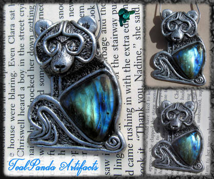 Celtic Bear with Labradorite pendant by TealpandaArtifacts