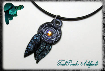 Dreamcatcher pendant with bluegreen feathers by TealpandaArtifacts