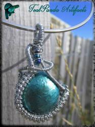 Green Sea Wire Wrap pendant by TealpandaArtifacts