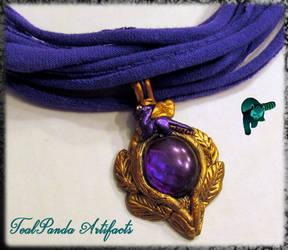Purple Laurel Dragon necklace by TealpandaArtifacts