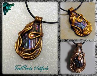 Treasure Trove Pen Shell pendant by TealpandaArtifacts