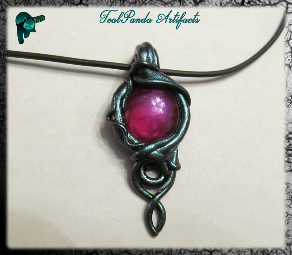 Teal And Fuchsia pendant by TealpandaArtifacts