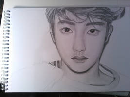 Kyungsoo - XOXO Graphite Drawing by pandatory
