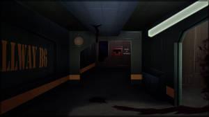 Dark Space Station Hallway by toongrowner