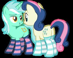 Lyra and Bon bon in sockies by FluffyTuli