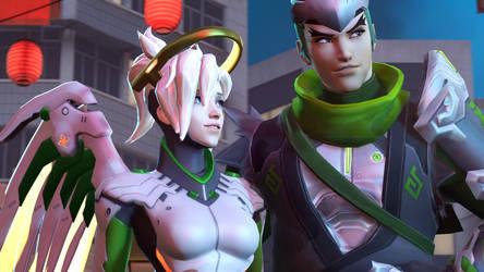 Overwatch | Mercy and Genji by karinscr