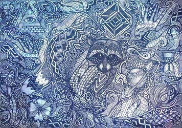 Zentangle raccoon by YotsukiCrashTaylor