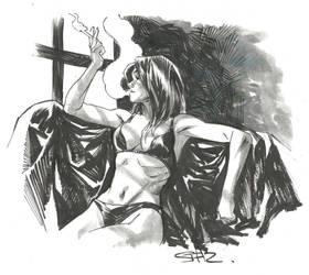 Smoking, inktober sketch by StazJohnson