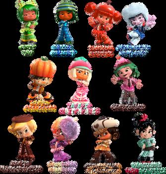 Wreck-It Ralph :Sugar Rush Speedway characters: by Xelku9