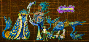 Digimon OC :Shiko and the Mayan/Aztec Bird: by Xelku9