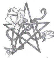 Rose and Pentagram Tattoo by KittyCait13