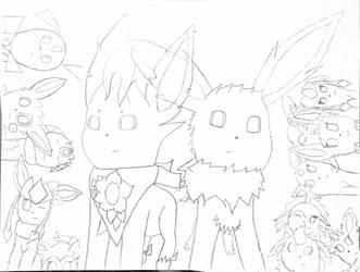 [Sketch] Team Eevees x Eeveelution Squad (again) by NuclearGallade25