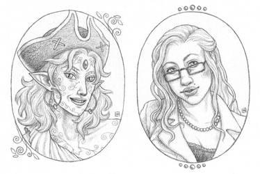 Portraits: Pirossa and Eve by bleuphoria