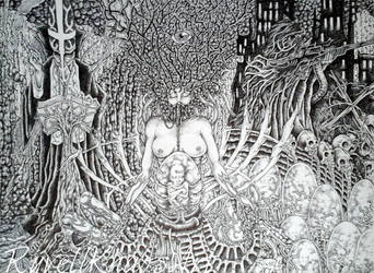 Mad Man's Visions .  .  .  (  Ballpoint  pen  ) by RuvellKhaosArt