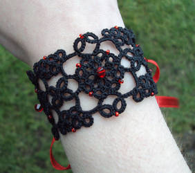Lizzie tatted lace-up cuff by TataniaRosa