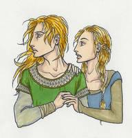 Young Eomer and Eowyn by KidaGreenleaf
