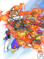 Fox and Falco by almightyminiman