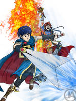 Marth and Roy by almightyminiman