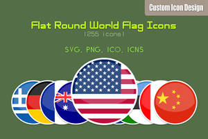Flat Round World Flag Icons by customicondesign