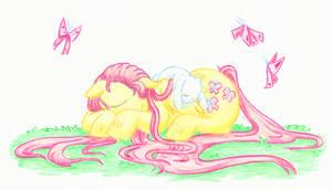 Sleeping Fluttershy by Mu-Tsu