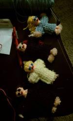 Crochet creations 1:yarn dolls by unicorn-catcher