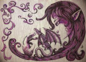 Violet Elf with Dragon by LyraaLanquia