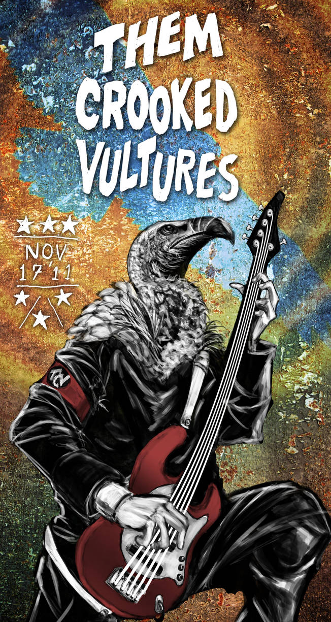 Them Crooked Vultures album poster by cheshirect