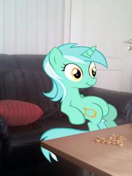 Lyra eating snacks in my living room - Sofa by PokemonBWishesCilan