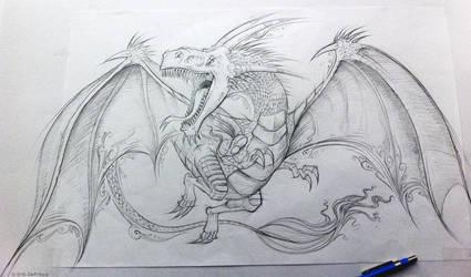 Dragon Drawing by ErikDePrince