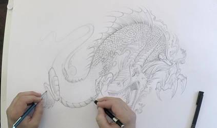 Dragon Drawing Time Lapse Art by ErikDePrince