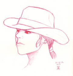Pencil Hatted Head by AnurenWaedor