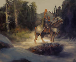 Forest deer knight by mindschnapps