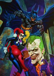 Batman, Joker, Harley Quinn by LOGANNINEFINGERS