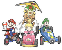 Mario Kart 8: Bowser, Peach, Mario and Luigi by RamyunKing