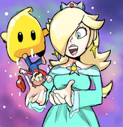Giant Rosalina and Mario by RamyunKing