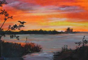 Peaceful scene sunset by Harmina